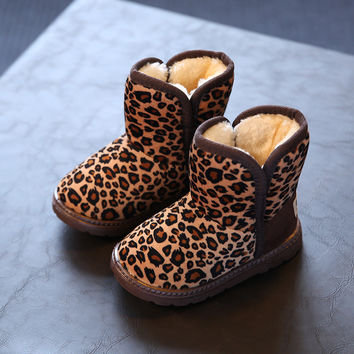 12 Sizes 2016 Winter Children Shoes For Boys Girls Snow Boots Unisex  Coffee Warm Leopard Print  Kids Shoes