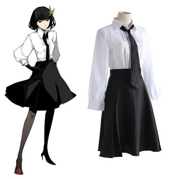 Cool Anime Bungo Stray Dogs Detective Agency Member Akiko Yosano Cosplay Costumes Shirt & Skirt & Tie & Gloves School Uniform SuitAT_93_12