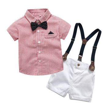 Gentleman Bow Tie T-Shirt Tops+Shorts For Baby Boy