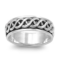 925 Sterling Silver Braid of the Celtic Wicca Spinner Ring
