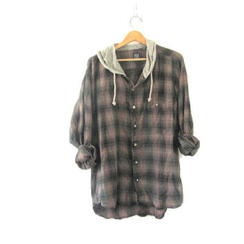 Vintage brown and green Plaid Flannel hoodie / Grunge Shirt jacket / cotton button up shirt coat XL