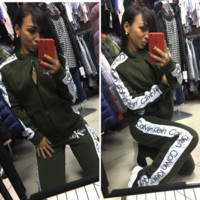 Calvin Klein New fashion letter print leisure women long sleeve top coat and pants two piece suit Green
