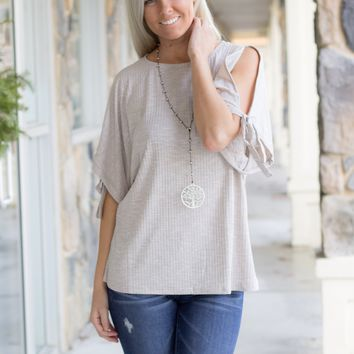 Cold Shoulder Ribbed Top in Stone