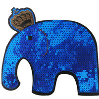 XXL Extra Large Stunning Blue Sequin Elephant Patch 19cm Applique