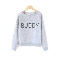 ZLYC Teen Girls Letter Buddy Print Casual Gray Long Sleeve Sweatshirt Pullover