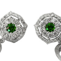 Diamond Earrings, Emerald Earrings,Drop Earrings,Chandelier Earrings,Wedding Earrings,Diamond Floral Earrings,14K White Gold