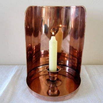 Antique Copper Wall Sconce Candle Holder Home Decor Hand Crafted