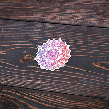 "Colored Mandala - Pack Of 3 - 4"" Wide - Personalized Sticker - Die Cut"