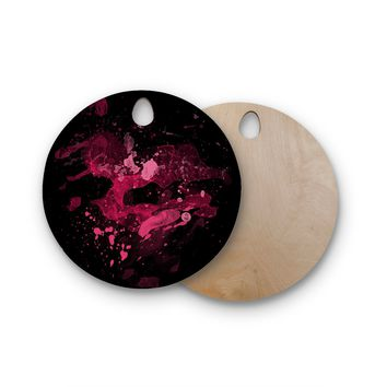 """Rosa Picnic """"Splatter-1"""" Black Pink Abstract Contemporary Painting Watercolor Round Wooden Cutting Board"""