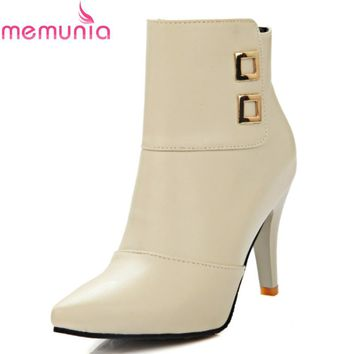 MEMUNIA Plus size 2018  spring autumn new arrival elegant ankle boots stiletto high heels pointed toe buckle solid shoes woman