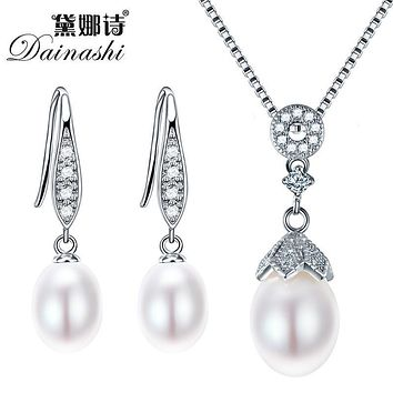 Dainashi Pearl Jewelry Sets 925 Silver Freshwater Pearl Pendant Necklace With Earrings Whole Set Fine Jewelry 4 Colors Best Gift