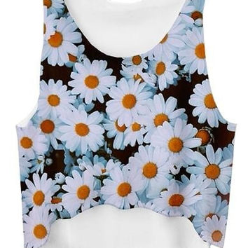 Sexy Hot Fashion Short Crop Tops Women 3D Chrysanthemum Daisy Printed Vest (Size: One Size) = 1956651972