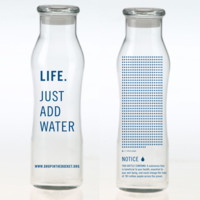 Life- Just Add Water- Glass water bottle
