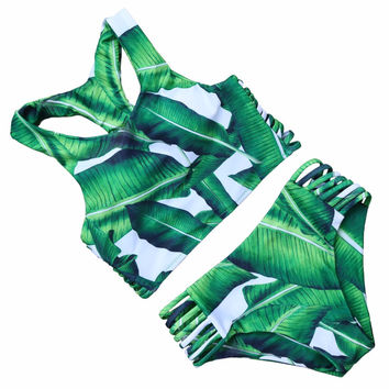 PINKCOSER Tropical Trip Leaves Printing Bikini Set