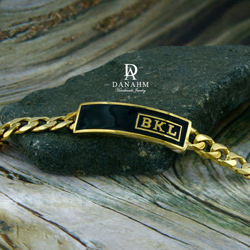 Royal Initials Bracelet with Black Enamel, Sterling Silver, Yellow Gold Plated, Personalized, Raised Letters in English, BR001B