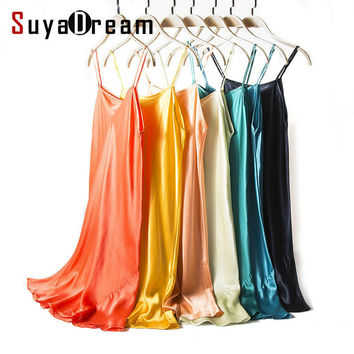 Silk SLEEP Dress REAL SILK women sleepwear healthy home dress Slips SALE 2016 spring new Black RED PINK