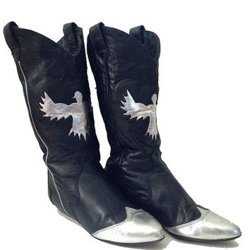 Vintage Zodiac Silver and Black Leather 80s Eagle Cowboy Boots US Women's Size 5.5