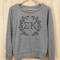 Sigma Kappa Wreath Athletic Heather Slouchy Pullover