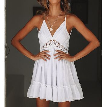 Summer Explosion Lace Halter Cutout Cotton Wrinkle Deep V Strap Dress