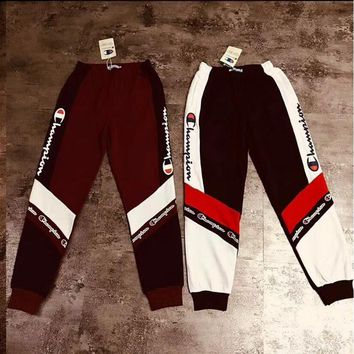 Champion Trending Women Men Personality Contrast Color Logo Print Sport Stretch Pants Trousers Sweatpants Joggers