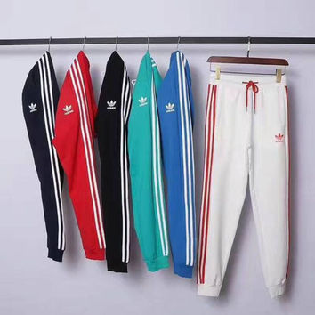THE NEW ADIDAS PRINT LONG PANTS SPORTS TROUSERS STRIPE FOR SIX COLOR H-A-XYCL