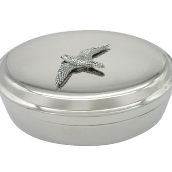 Peregrine Falcon Bird Pendant Oval Trinket Jewelry Box