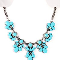 Crystal Floral Statement Necklace - Medium Turquoise Blue
