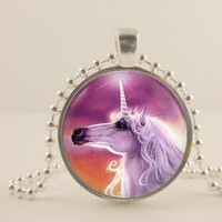 Unicorn fantasy glass and metal Pendant necklace Jewelry.