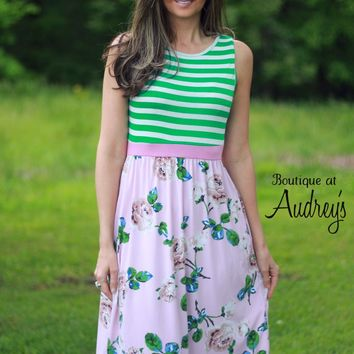 Sleeveless Midi Dress with Green Stripes and Pink Floral Print