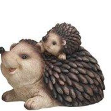Resin Hedgehog Family Set of 3 Garden Figurines 6.25 Inch Statues