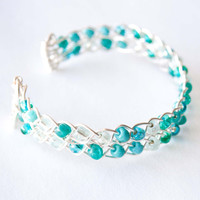 Teal Braided Wire Cuff, Silver Wire Wrap Jewelry, Irish Jewelry