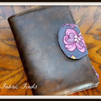 Brown Vinyl Faux Leather Magnolia Floral E-Reader Cover Kindle , Nook Cover, Kobo Cover, Kindle Fire Cover, Kindle Touch Cover Made to Order