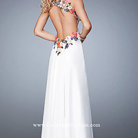 Long White Sweetheart Open Back Prom Dress by La Femme