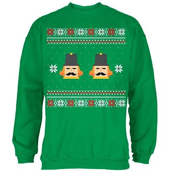 Nutcracker Full Color Ugly Christmas Sweater Green Adult Sweatshirt