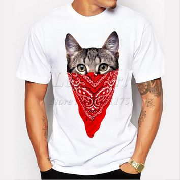 Men's Funny Short Sleeve Gangster Cat Printed T Shirt O Neck Cool Tops T039