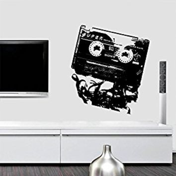Wall Decal Vinyl Sticker Decals Art Decor Design Cassett Audio Retro Music Sony Tape Love Rockstar Style Dorm Bedroom (r423)