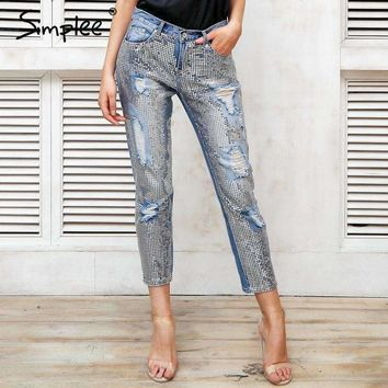 Sequin Hole Jeans