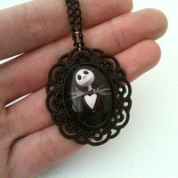 Nightmare before christmas necklace Jack black glass cabochon Halloween