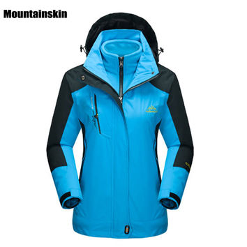 Mountainskin Women's Winter 2 pieces Softshell Fleece Jackets Outdoor Sports Waterproof Thermal Hiking Skiing Female Coats RW015
