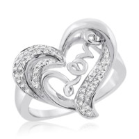 Sterling Silver 0.09 Cttw Love - Heart Ring