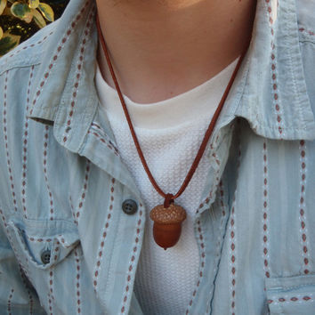 Natural Acorn Pendant Acorn Necklace Acorn Jewelry on Leather Cord Unisex Woodland Jewelry / Handmade by FeistyFarmersWife