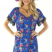 Blue Boat Neck Printed Idyllic Lace Embellished Short Sleeve Mini Dress