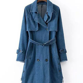 Blue  Double-Breasted Denim Trench Coat with Belt