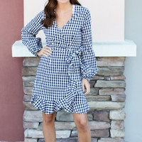 Wrap It Gingham Dress - Navy