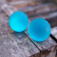 Neon Turquoise Frosted Stud Earrings. Round. Handmade. Buy 2 Get 1 Free.