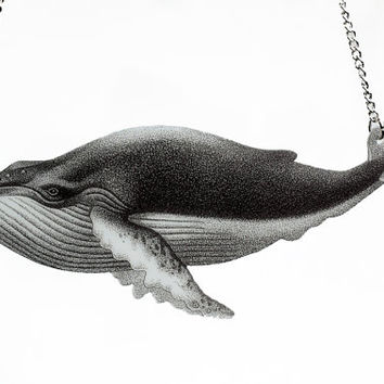 Humpback Whale Necklace Illustration Jewelry Statement Large Fish Pendant Black and White Vintage Nautical