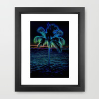 Electric Blue Palm Tree Framed Art Print by Photography By Pamela