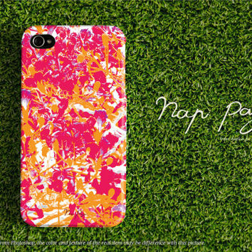 Apple iphone case for iphone iphone 5 iphone 5s iphone 5c iphone 4 iphone 4s iPhone 3Gs : pink and orange tropical flower for summer
