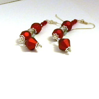 Red Velvet Crystal Dangle Earrings, Red Swag Earrings, Crystal Earrings, Fashion Earrings, Women's Earrings, Chandelier Earrings, Earrings