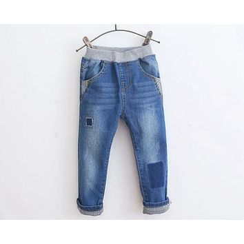 2017 Spring New Arrival Baby Boys Fashion Denim Jeans Boys Casual Patchwork Jeans Kids Long Pants Child Spring Autumn Trousers